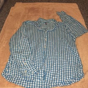 Men's blue and white button up
